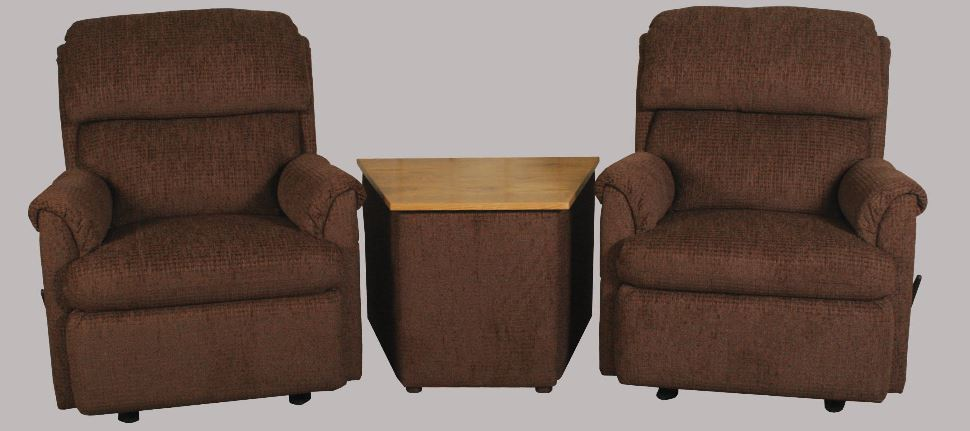 Best Craft 101 Recliner with Oak Storage Console
